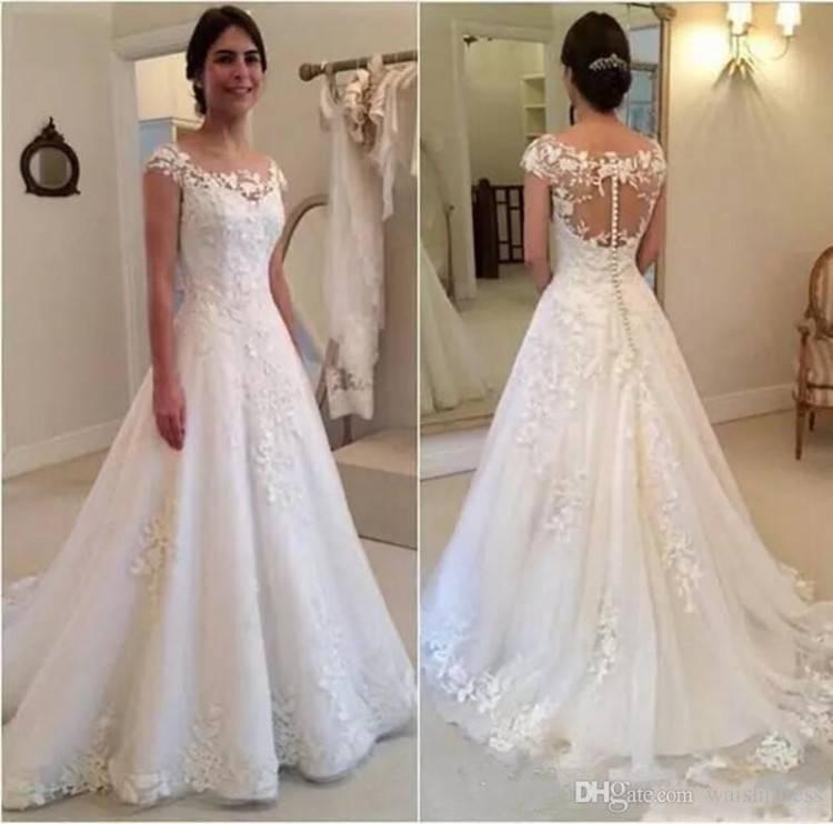 Großhandel Bescheidene A Linie Spitze Appliques Brautkleider Sheer Juwel Cap Sleeves Illusion Zurück Brautkleider Custom Made Sweep Zug Bridal Dress Von