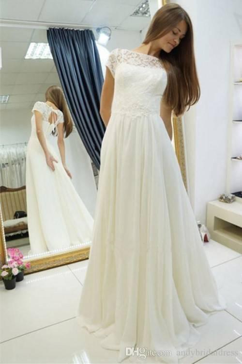 YASIOU Brautkleid Damen Lang A Linie Weiß Spitze Trägerlos Einfach Hochzeitskleid mit Schleppe: Amazon