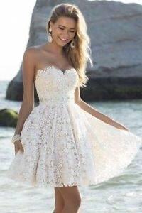 Valencia Umstandsmoden Brautkleid Kurz in Elfenbein by Tiffany Rose