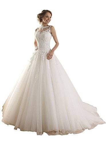 NUOJIA Prinzessin Hochzeitskleider Spitze Tüll Brautkleider mit Durchsichtig Rücken: Amazon