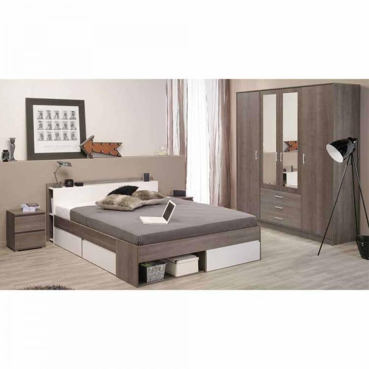 Dandy Schlafzimmer Komplettset Bett Kleiderschrank Set Nussbaum/Schwarz