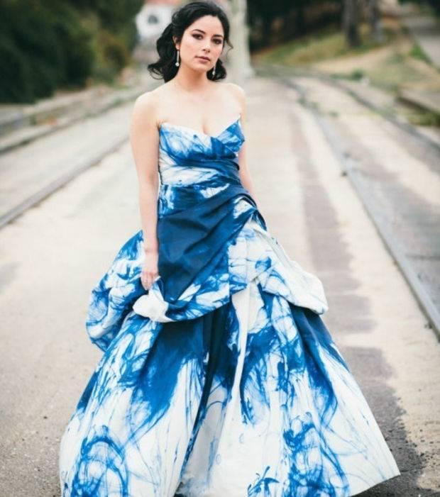 Abendkleid Brautkleid Hochzeitskleid Verlobungskleid Blau Gr