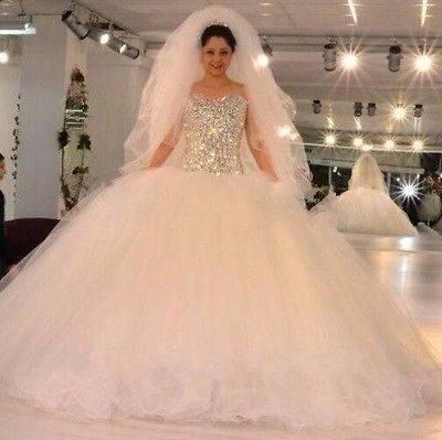 Großhandel Luxus Arabisch Lange Ärmel Spitze Ballkleid Brautkleider Sweep Zug Applique Kristall Bogen Brautkleid Tüll Vintage Brautkleid Von Dressvip,