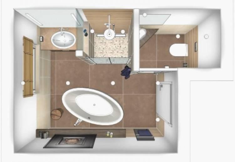 badezimmer 4 qm ideen elegantes designprojekt layout farben kombinieren schwarz holzoptik Badezimmer 4 qm planen – Ideen für praktische Raumgestaltung mit