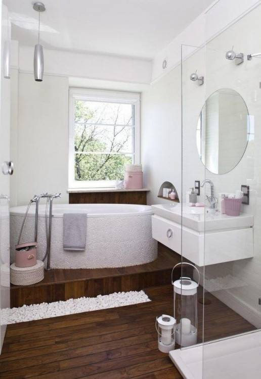 Modernes Bad mit Holz – 27 Ideen für Möbel, Boden,