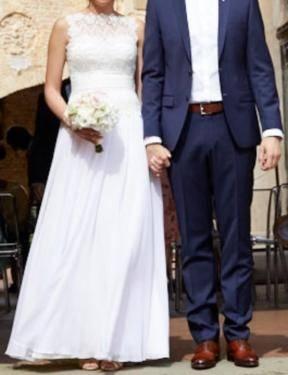 NUOJIA Lange Meerjungfrau Spitze Hochzeitskleid Standesamt Champagner  Boho Brautkleider Bohemien B0774MVH95