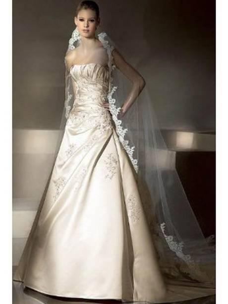 NUOJIA Damen Lang Meerjungfrau Hochzeitskleider Champagner mit Blumen  Appliques Tüll Brautkleider Rücken B077P6DJP5