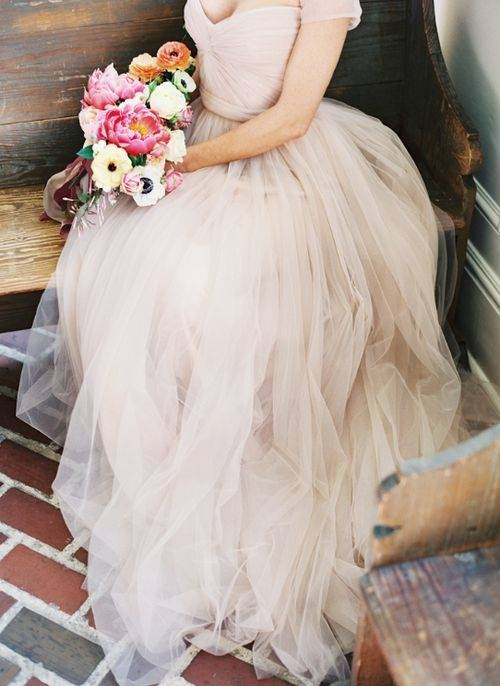 Blush and white wedding dress