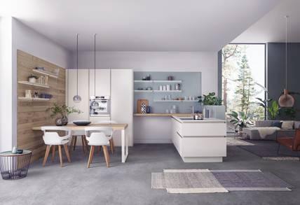 Küche in Betonoptik mit Theke und großem Hochschrank (Bildquelle:  LEICHT Küchen)