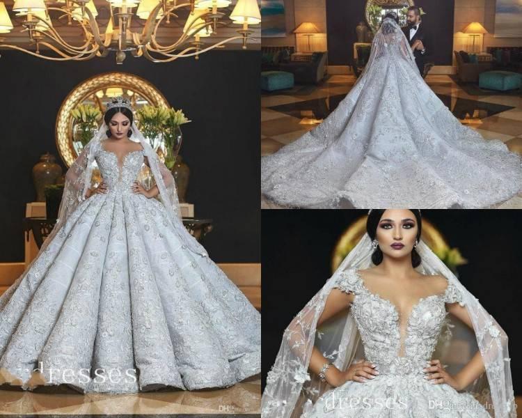 Großhandel 2018 Vintage Arabisch Dubai Long Sleeves Hochzeitskleid  Prinzessin Schulterfrei Spitze Applique Brautkleid Plus Size Custom Made  Von Forevergrace
