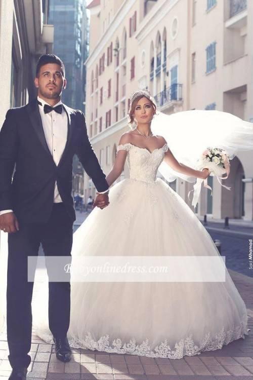 Cloverbridal Luxus Brautkleider Hochzeitskleider Prinzessin mit Strass Spitze Hochzeitskleider Ballkleider: Amazon