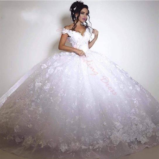 Großhandel 2018 Ballkleid Brautkleider Dubai Off Schulter Lace Tulle Applique Langarm Brautkleider Sweep Zug Pailletten Vintage Brautkleid Von Dressvip,