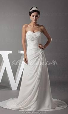 Schlichte Brautkleider Weiß Mit Spitze A Linie Schulterfrei Schleppe Hochzeitskleider Günstig