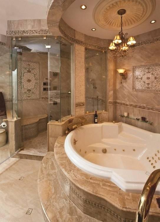 Badezimmer, Mosaik fliesen badezimmer mit glasfliesen in goldtöne dekor