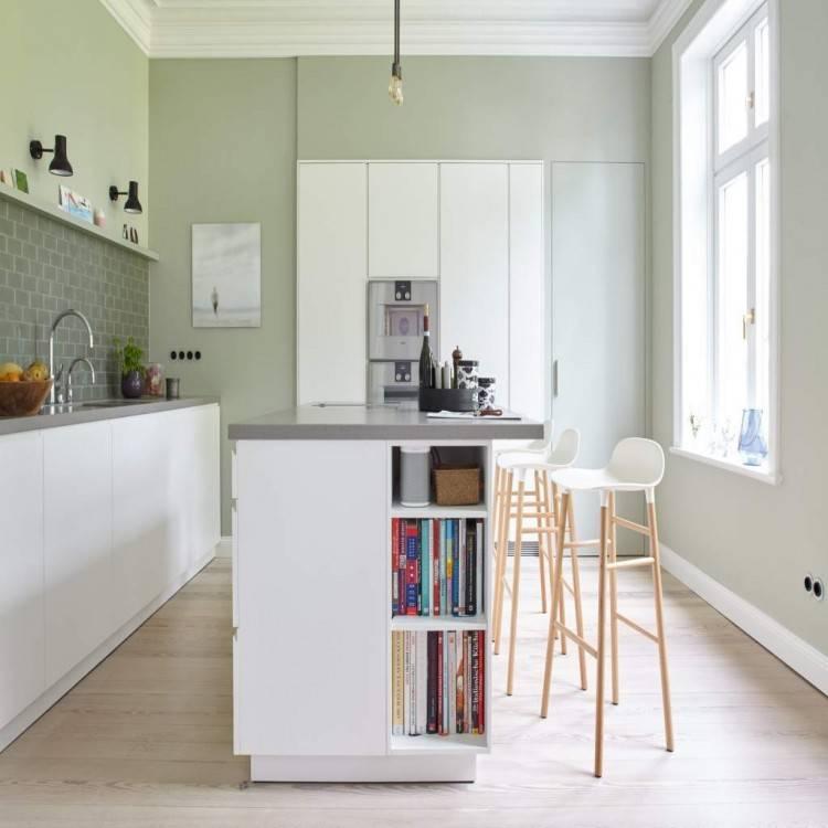 Küchen Idee, Lack Grün, Furnier Zebrano, Arbeitsplatte Edelstahl mit eingelassenen Behältern