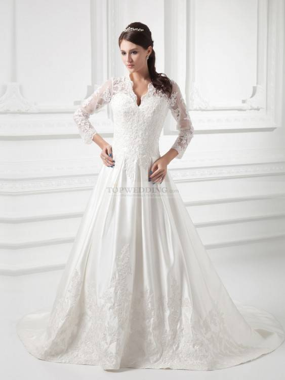 Großhandel Ballkleid Bateau Spitze Hochzeitskleid Mit Ärmel Für Die Braut Elegante Plus Size Prinzessin Brautkleid Besondere Anlässe Brautjungfer Party