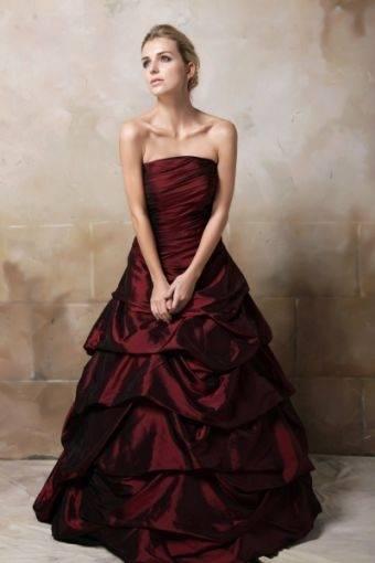 Brautkleid, Hochzeitskleid weiß bordeaux Schleppe Gr