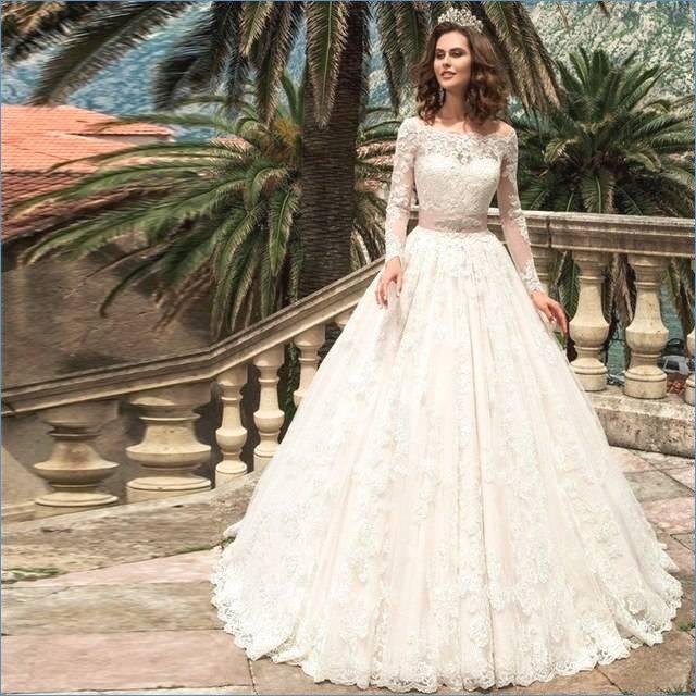 Großhandel 2017 Arabisch Dubai Spitze Hochzeitskleid Langarm Vintage Spitze  Boot Ausschnitt Illusion Mieder Appliques Plus Size Brautkleider Vestido De
