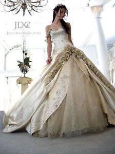 Brautkleid/ Hochzeitskleid, champagnerfarben, Gr