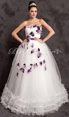 Hochzeitskleid creme mit Schleppe Gr