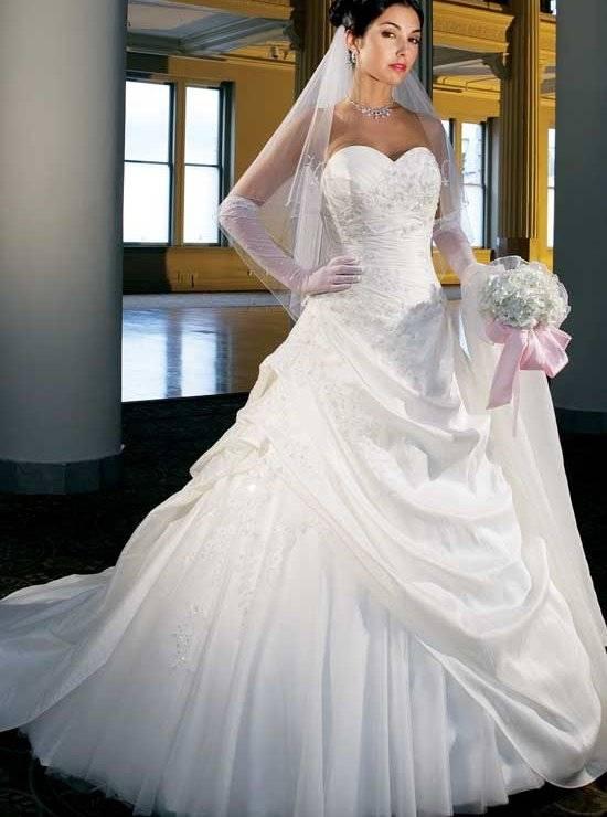 Corsage Pailletten Luxus Brautkleid Blätter Prinzessin Schleppe  GWRW145€640