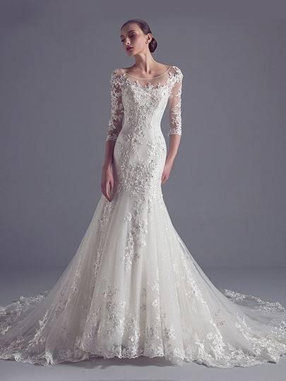 Cloverbridal Elegant Brautkleider Spitze Hochzeitskleider für Damen Prinzessin Lange Ärmel: Amazon