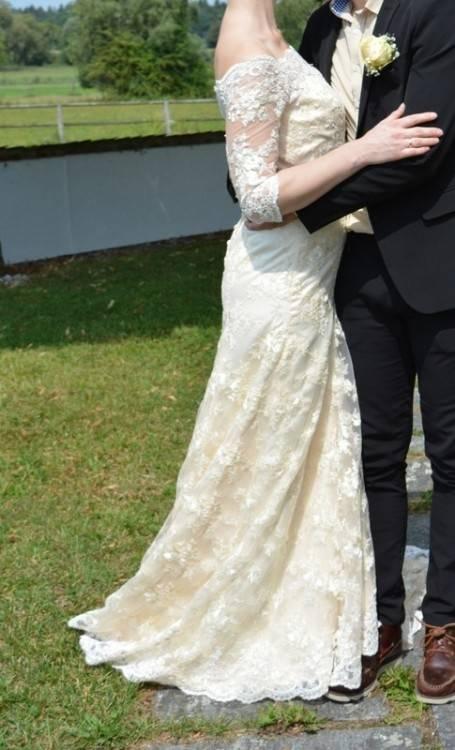 Heine Brautkleid Spitze Hochzeitskleid creme Gr