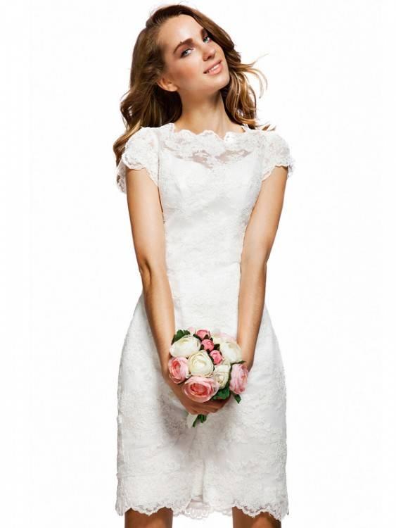 Günstig Weiß Brautkleider Kurz Spitze Spaghetti Träger Brautmoden Hochzeitskleider