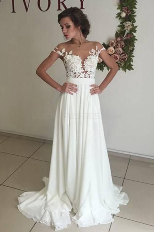 Großhandel Einfaches Boho Strand Chiffon Brautkleid Mit Einem Umhang Pelerine Minimalistisches Geöffnetes Rückseitiges Hochzeitskleid Einfach Nicht