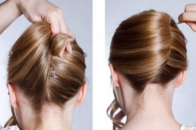 Zart braun gesträhntes Haar auf schwungvolle Haarschlaufen gearbeitet für Bälle und Hochzeiten