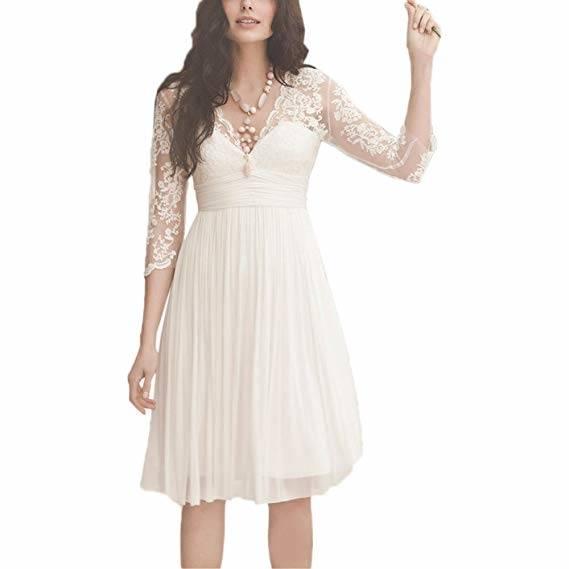 NUOJIA Knielange Chiffon Spitzen Kurze Brautkleider Standesamt Hochzeitskleid Lange ärmel: Amazon