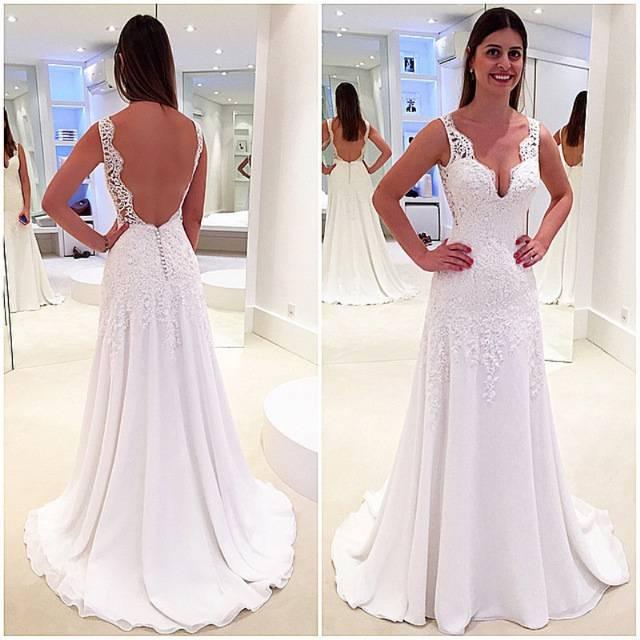Großhandel Einfache Entwurfs Kappen Hülse Chiffon Viktorianische Brautkleider Brautkleid 2018 Neue Großhandelsspitze Hochzeits Kleider Billig Von