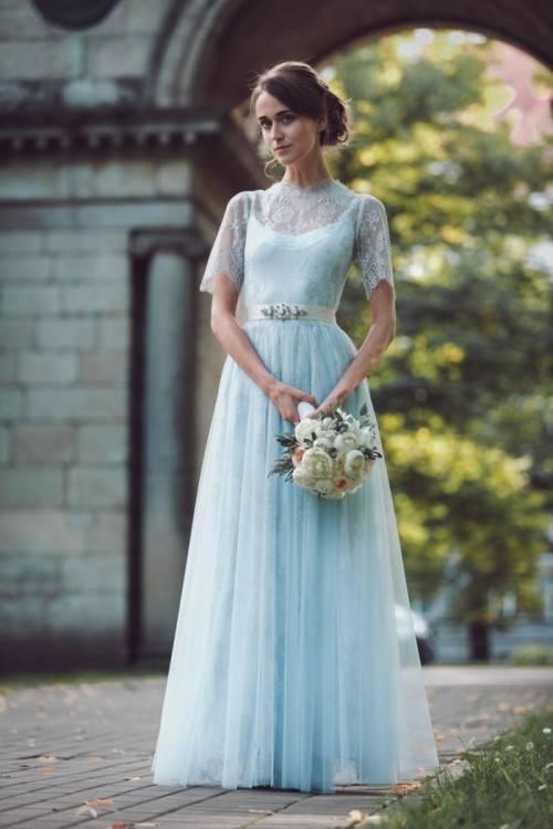 SHUNLIU Damen Spitze Abendkleid 2017 Elegant festlich Blumenstricken Rückenfrei Partyskleid Cocktailkleid Chiffon Faltenrock Langes Hochzeitskleid Blau