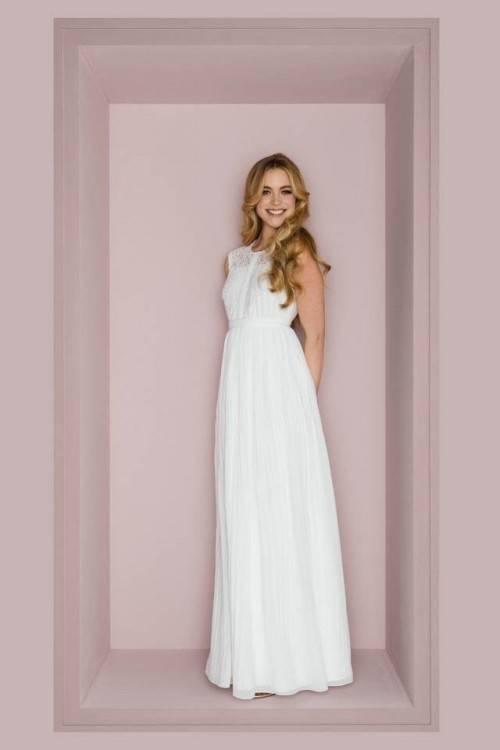 Vintage Weiß / Elfenbein Spitze Tee Länge Kurzes Hochzeitskleid Brautkleid