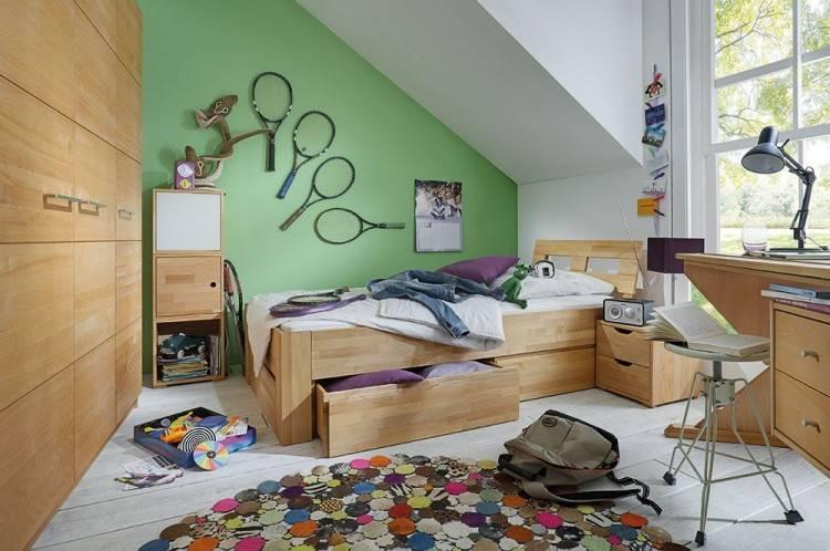 Jugendzimmer Schlafzimmer Kleiderschrank Bett Buche Ibsen / Weiß / champagne Neu 1