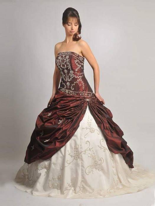 Tüll Brautkleid in weiß & weinrot bordeaux inkl