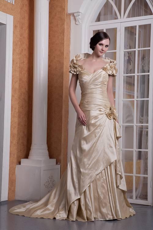 NUOJIA Prinzessin Spitze Hochzeitskleider Offener Rücken Champagner  Brautkleider Lange ärmel: Amazon