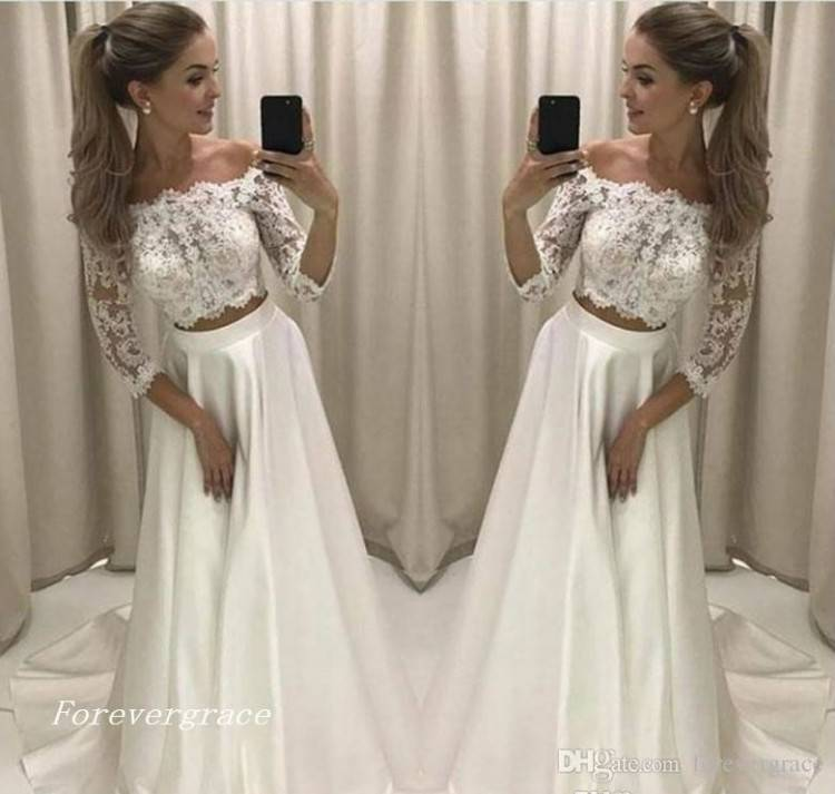 Aoturui Elegant Volle Spitze Lange Ärmel Hochzeitskleider Abnehmbar Gürtel  Hochzeitskleid Brautkleider Abendkleid Ballkleid: Amazon