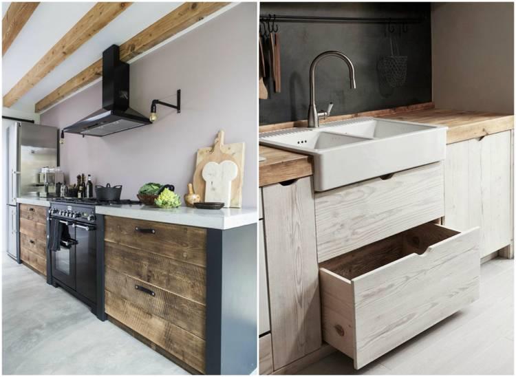 Eine moderne Küche mit Altholz kombiniert