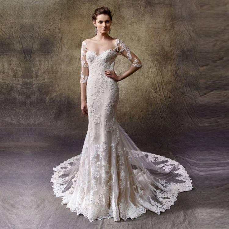2016 neue hohe Kragen Jacke Mermaid Brautkleider Pailletten Spitze Applique lange schleppende Kirche Hochzeitskleid goldene Perlen