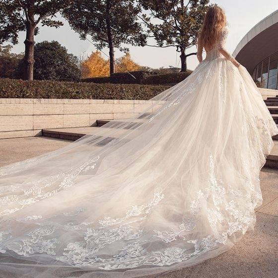 ♡VILLAIS Brautkleid mit Reifrock Schleppe Ivory Gr
