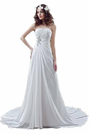 Suit Me Damen Jahrgang Brautkleider fuer Hochzeiten Einfach Brautkleid Chiffon Hochzeitskleid: Amazon