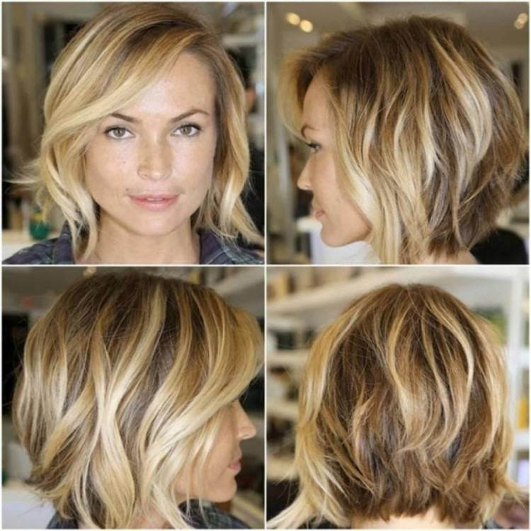 Stufen bringen Struktur in diesen mittellangen Haarschnitt, der sich übrigens perfekt für dickes Haar eignet