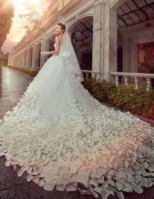 Hochzeitskleid, Schleppe, Ivory, Klassisch Abendkleid Lang Luxus 3