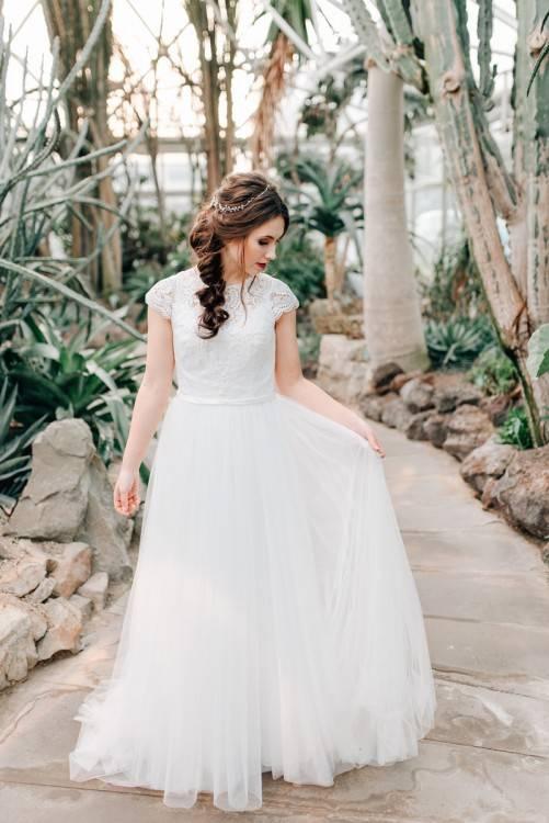 Vintage Brautkleid Hochzeitskleid mit Spitze blush Tone