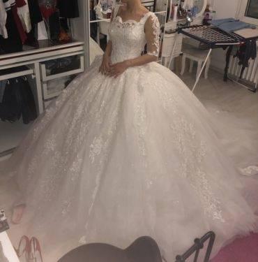 edles Cheyenne 50er retro Spitzen Brautkleid Petticoat Hochzeitskleid Kleid v