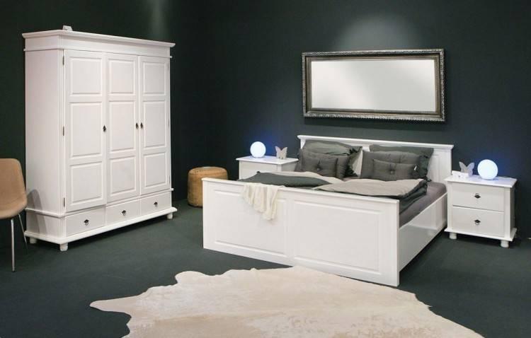 Schlafzimmer Komplett Set weiss mit Boxspringbett 160x200cm+Schwebetürenschrank B