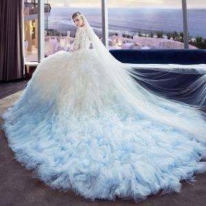 Großhandel Luxus Blau Tüll Ballkleider Brautkleider 2018 Vestido De Noiva Schulterfrei Ausschnitt Pailletten Perlen Bodenlangen Sleeveless Hochzeitskleid