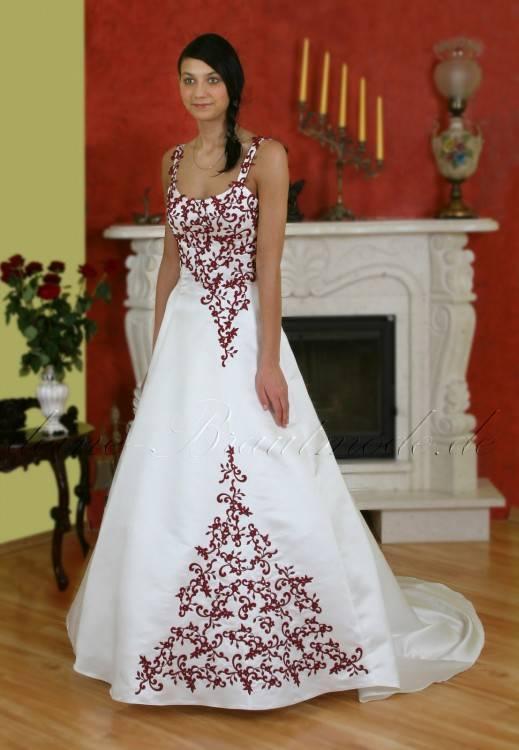 Brautkleid Hochzeit Weiß Bordeaux Rot Gr