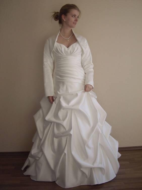 Brautkleid, Hochzeitskleid ivory mit Schleppe+Bolero Gr S